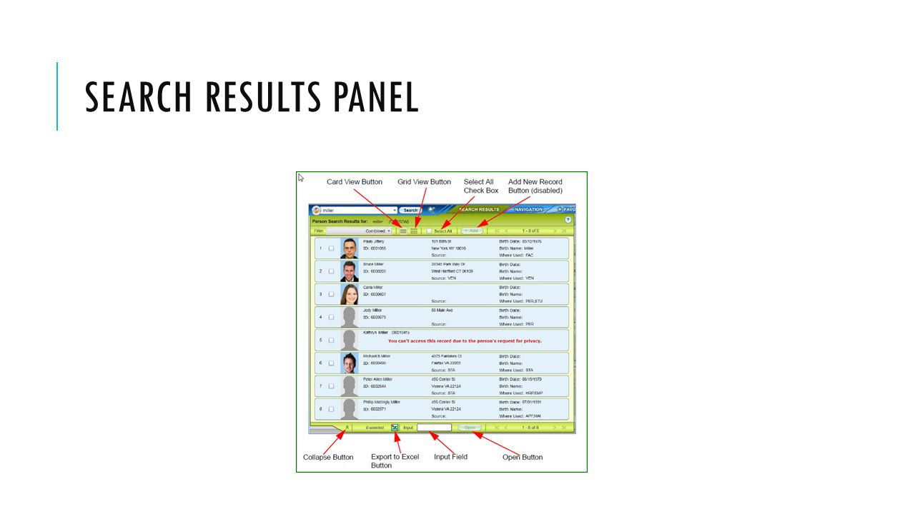 SEARCH RESULTS PANEL