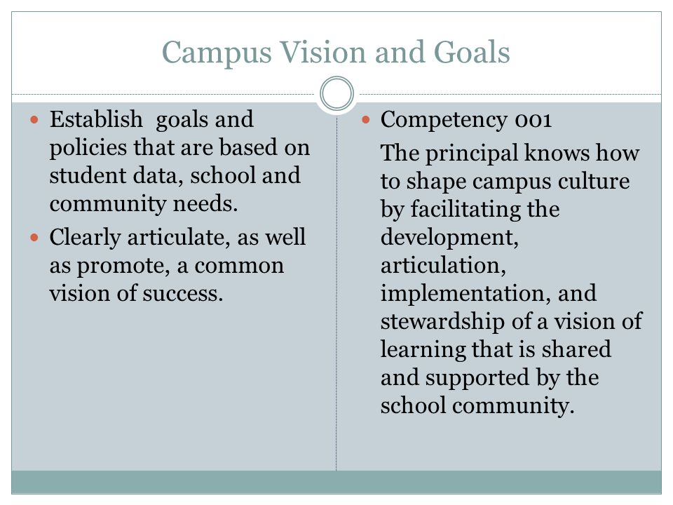 Campus Vision and Goals Establish goals and policies that are based on student data, school and community needs.
