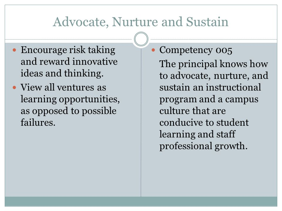 Advocate, Nurture and Sustain Encourage risk taking and reward innovative ideas and thinking.