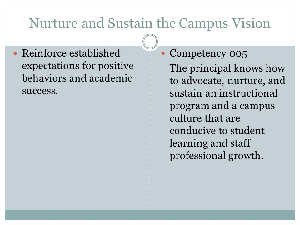 Nurture and Sustain the Campus Vision Reinforce established expectations for positive behaviors and academic success.