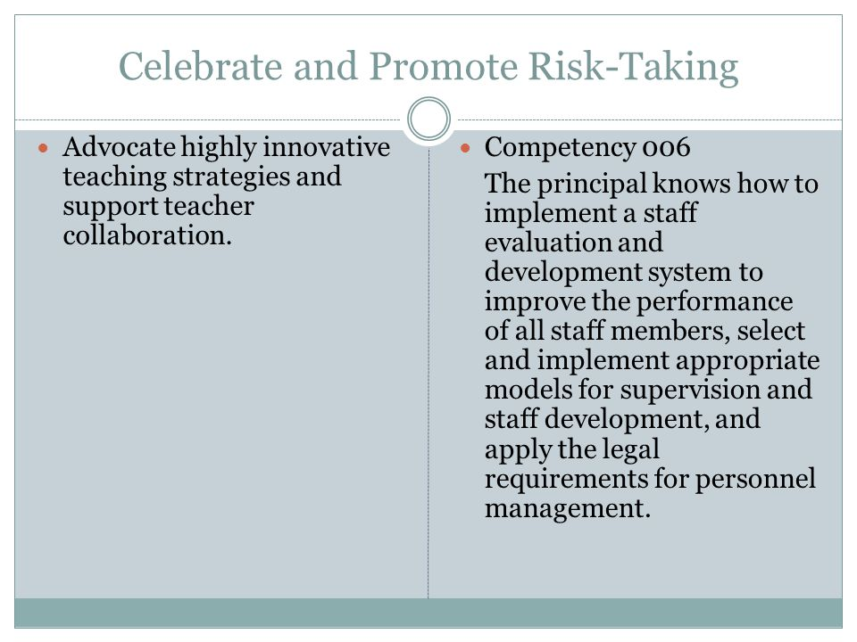 Celebrate and Promote Risk-Taking Advocate highly innovative teaching strategies and support teacher collaboration.