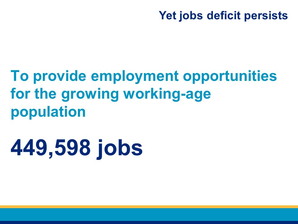 Yet jobs deficit persists To provide employment opportunities for the growing working-age population 449,598 jobs