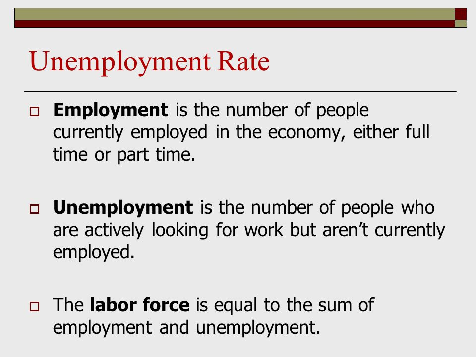 Unemployment Rate  Employment is the number of people currently employed in the economy, either full time or part time.