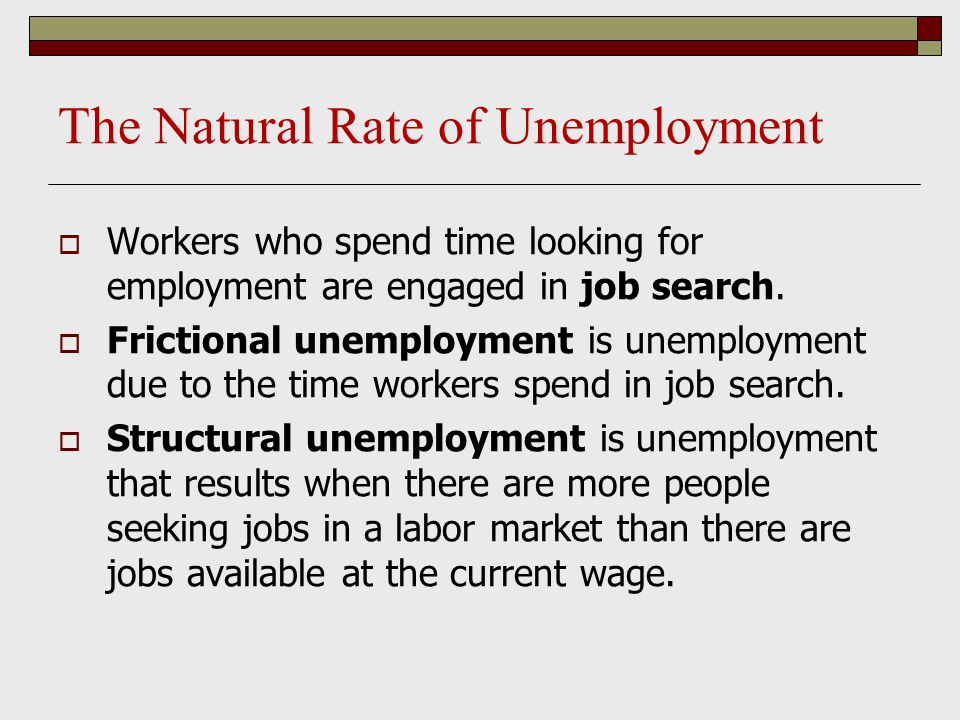 The Natural Rate of Unemployment  Workers who spend time looking for employment are engaged in job search.