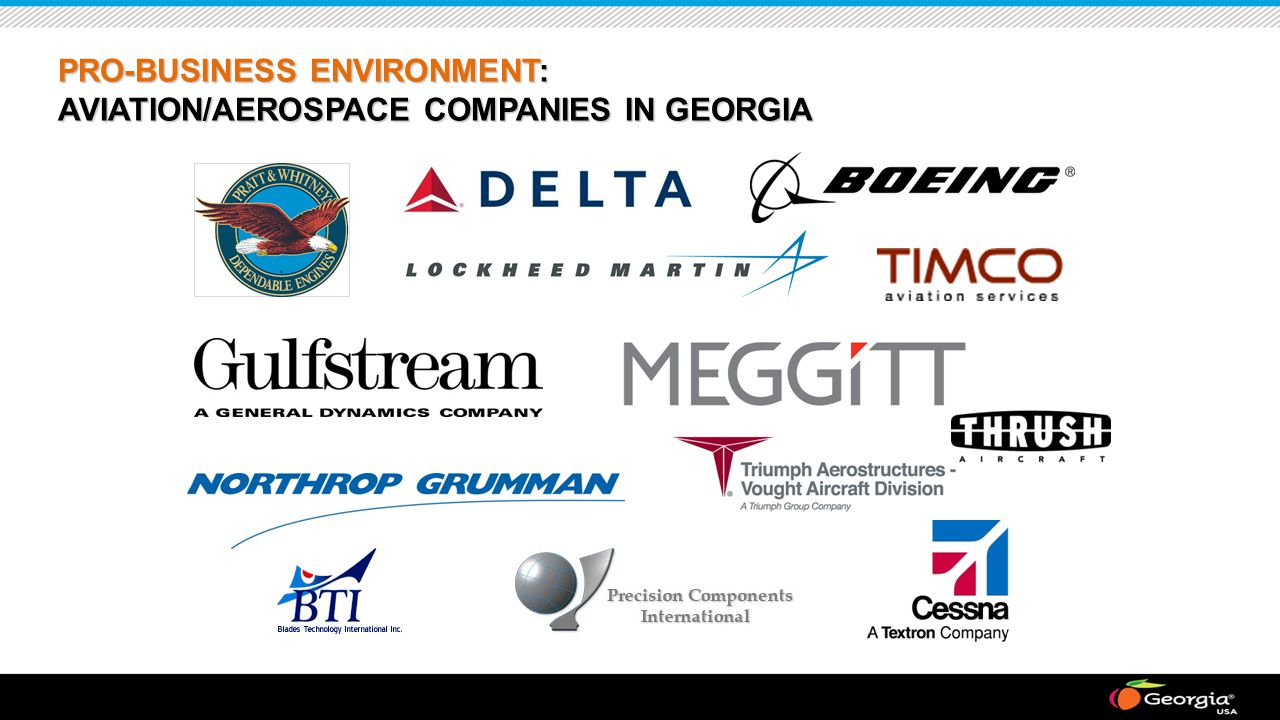 PRO-BUSINESS ENVIRONMENT: AVIATION/AEROSPACE COMPANIES IN GEORGIA