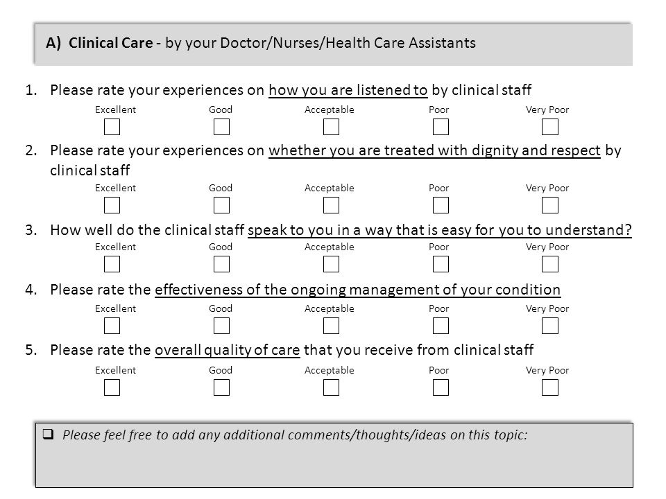 A) Clinical Care - by your Doctor/Nurses/Health Care Assistants 1.Please rate your experiences on how you are listened to by clinical staff 2.Please rate your experiences on whether you are treated with dignity and respect by clinical staff 3.How well do the clinical staff speak to you in a way that is easy for you to understand.