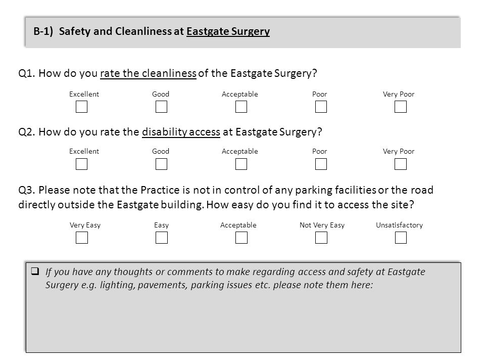 B-1) Safety and Cleanliness at Eastgate Surgery Q1.