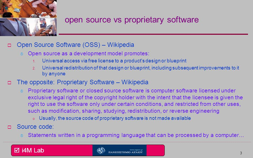 I4m lab 1 eservices open i4m lab open source vs proprietary software open source software oss malvernweather Images