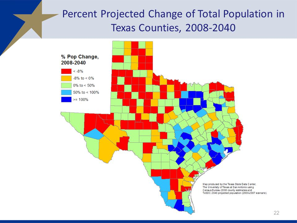 Percent Projected Change of Total Population in Texas Counties,