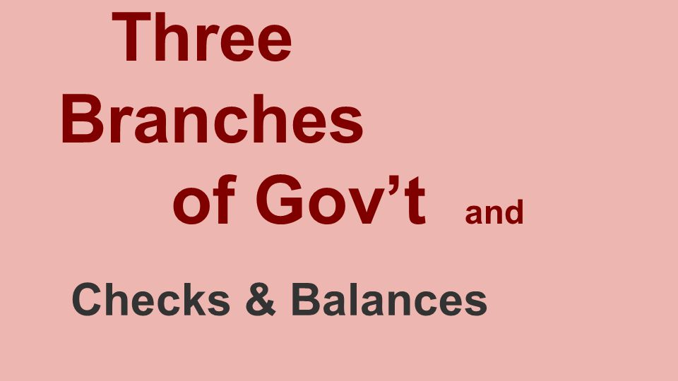 Three Branches of Gov't and Checks & Balances