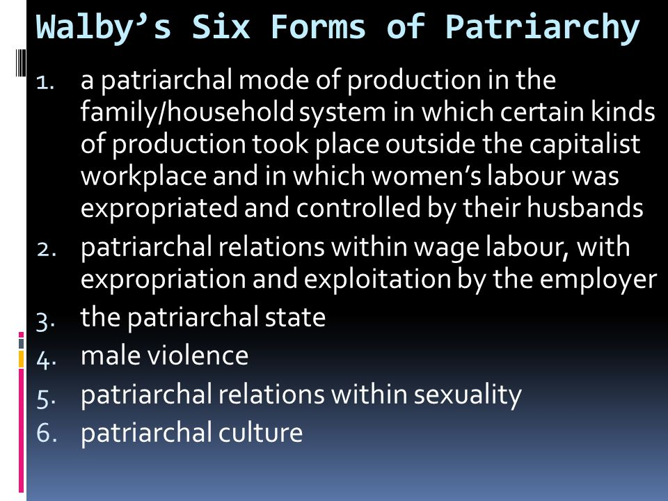 Walby's Six Forms of Patriarchy 1.