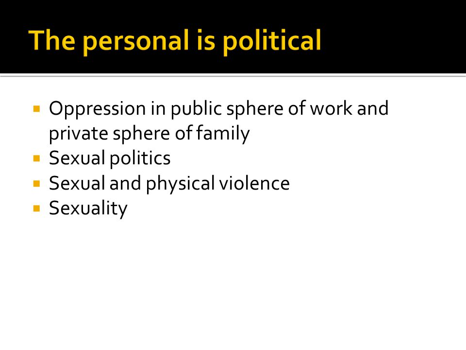  Oppression in public sphere of work and private sphere of family  Sexual politics  Sexual and physical violence  Sexuality