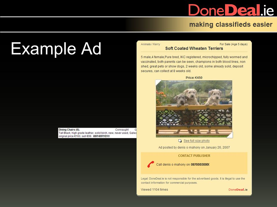 making classifieds easier Example Ad