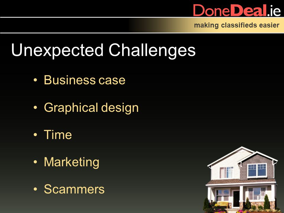 making classifieds easier Unexpected Challenges Business case Graphical design Time Marketing Scammers