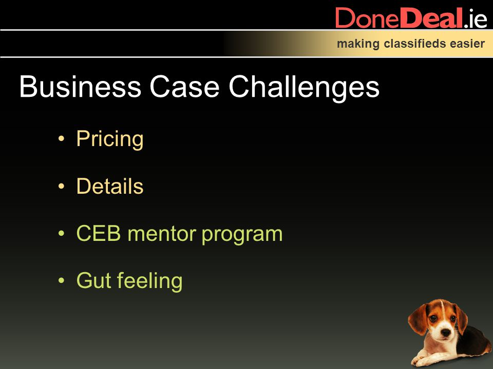 making classifieds easier Business Case Challenges Pricing Details CEB mentor program Gut feeling