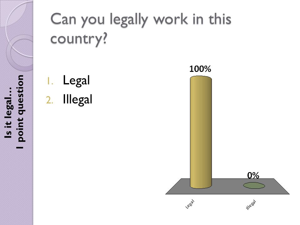 Can you legally work in this country Is it legal… 1 point question 1. Legal 2. Illegal