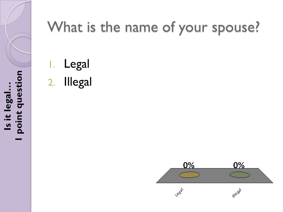 What is the name of your spouse Is it legal… 1 point question 1. Legal 2. Illegal