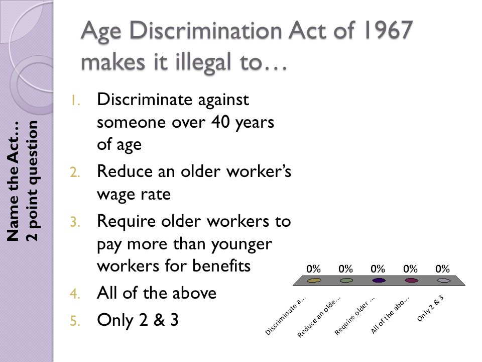 Age Discrimination Act of 1967 makes it illegal to… Name the Act… 2 point question 1.