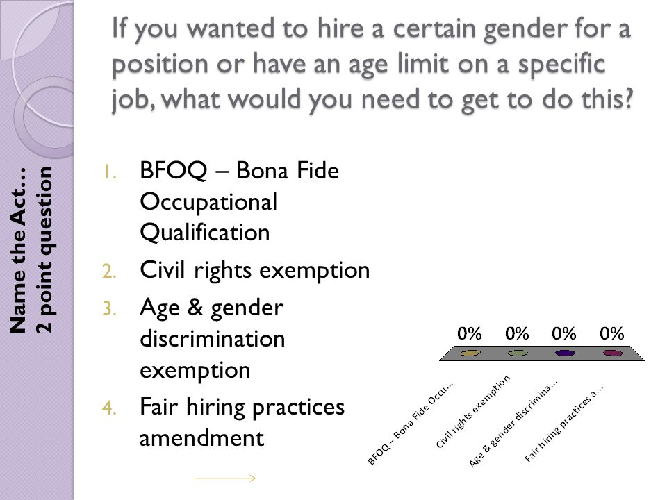 If you wanted to hire a certain gender for a position or have an age limit on a specific job, what would you need to get to do this.