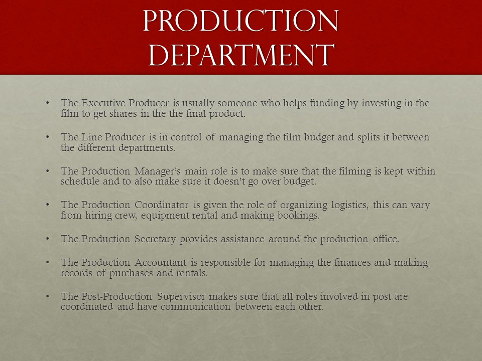 A Mind Map of the Different Jobs Within The Film Industry. - ppt ...