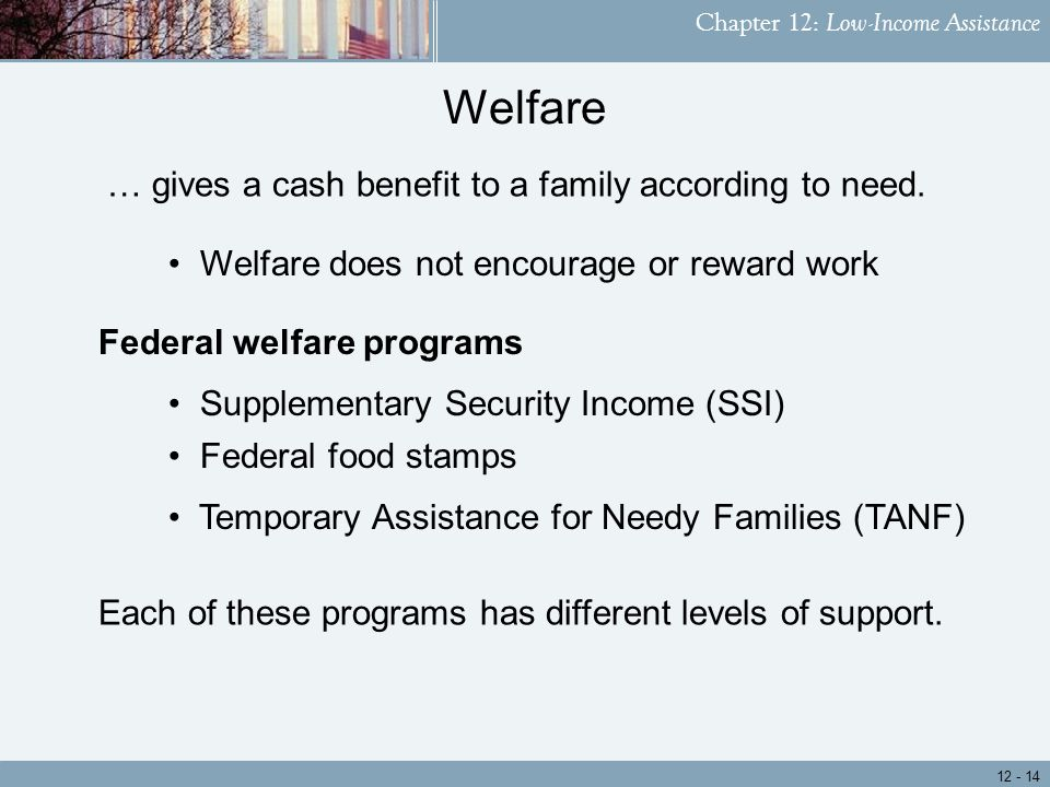 Chapter 12: Low-Income Assistance Each of these programs has different levels of support.