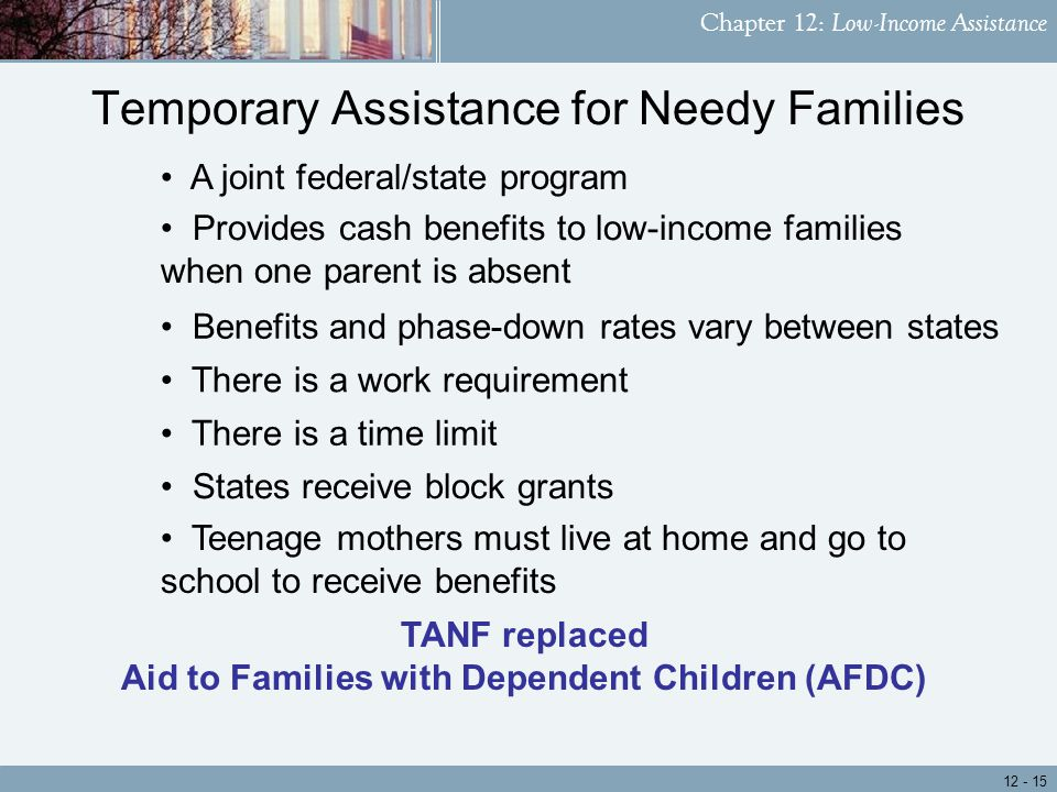 Chapter 12: Low-Income Assistance Teenage mothers must live at home and go to school to receive benefits There is a work requirement Temporary Assistance for Needy Families Benefits and phase-down rates vary between states A joint federal/state program There is a time limit States receive block grants Provides cash benefits to low-income families when one parent is absent TANF replaced Aid to Families with Dependent Children (AFDC)