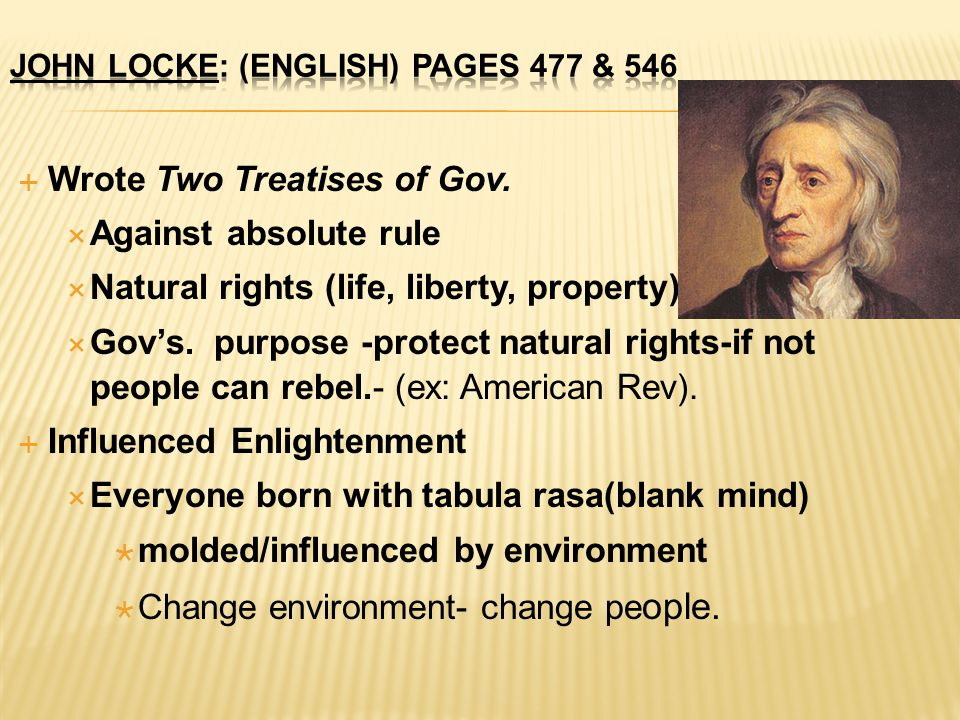  Wrote Two Treatises of Gov.