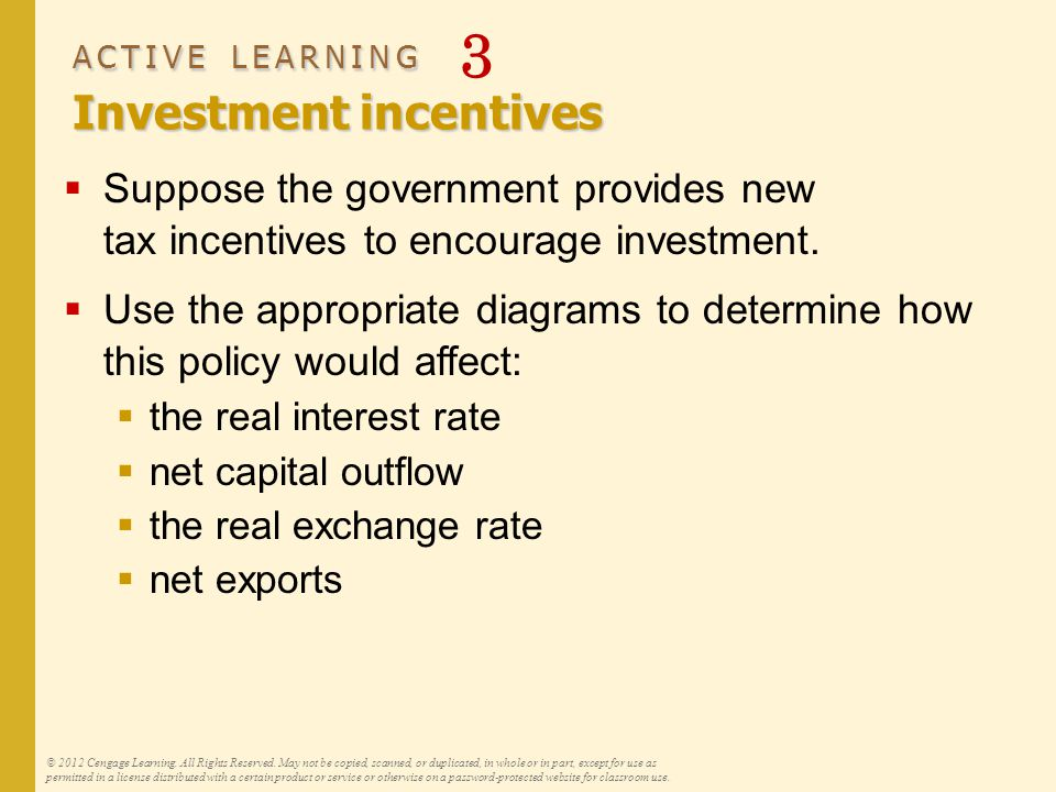 ACTIVE LEARNING Investment incentives ACTIVE LEARNING 3 Investment incentives  Suppose the government provides new tax incentives to encourage investment.