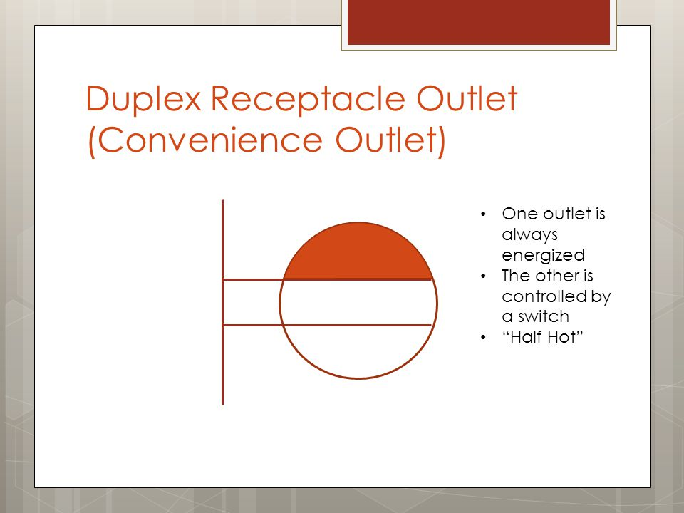 Duplex Receptacle Outlet (Convenience Outlet) One outlet is always energized The other is controlled by a switch Half Hot