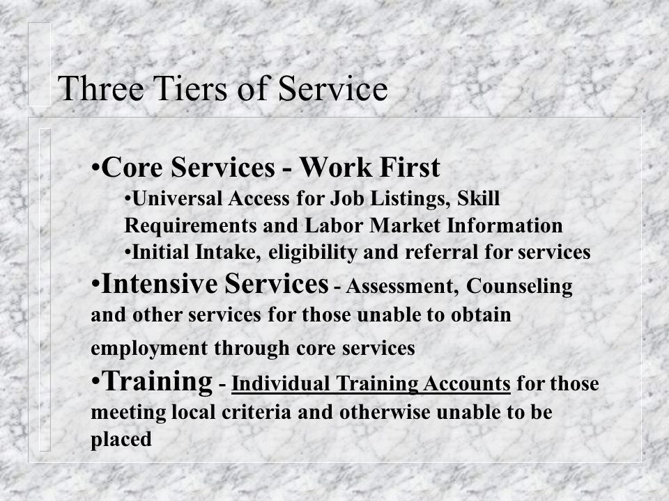 Three Tiers of Service Core Services - Work First Universal Access for Job Listings, Skill Requirements and Labor Market Information Initial Intake, eligibility and referral for services Intensive Services - Assessment, Counseling and other services for those unable to obtain employment through core services Training - Individual Training Accounts for those meeting local criteria and otherwise unable to be placed
