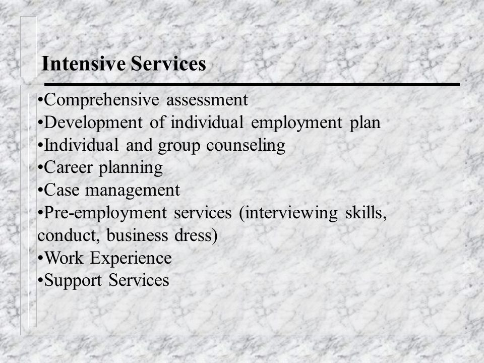 Intensive Services Comprehensive assessment Development of individual employment plan Individual and group counseling Career planning Case management Pre-employment services (interviewing skills, conduct, business dress) Work Experience Support Services