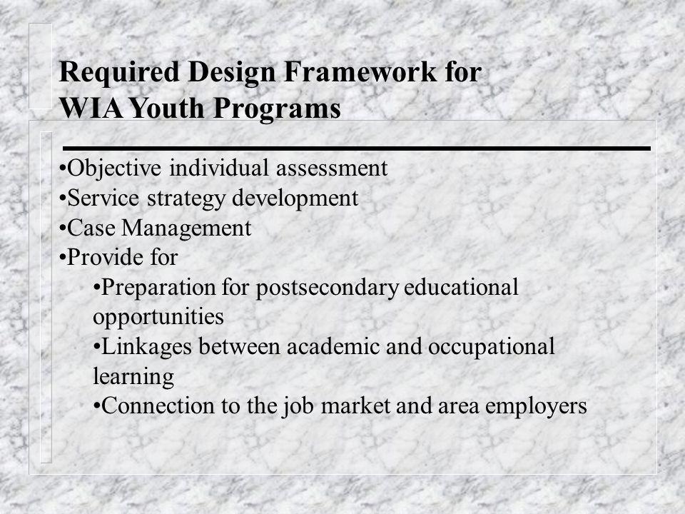 Required Design Framework for WIA Youth Programs Objective individual assessment Service strategy development Case Management Provide for Preparation for postsecondary educational opportunities Linkages between academic and occupational learning Connection to the job market and area employers