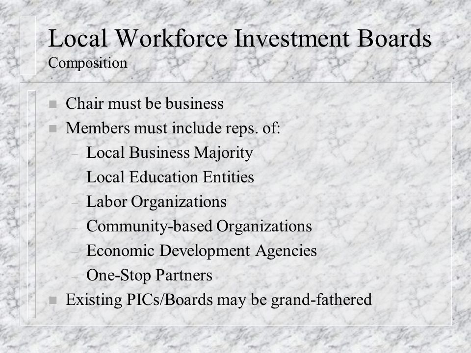 Local Workforce Investment Boards Composition n Chair must be business n Members must include reps.