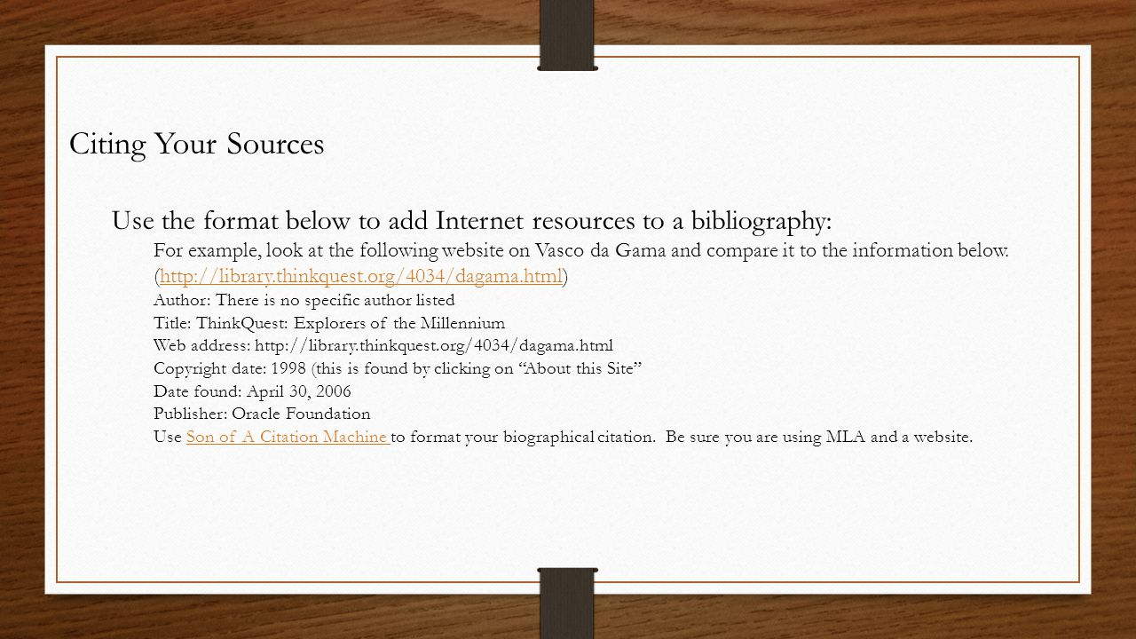 bibliography format for internet sources The columbia style was created by janice r walker and todd taylor to give detailed guidelines for citing internet sources citation and bibliography format.