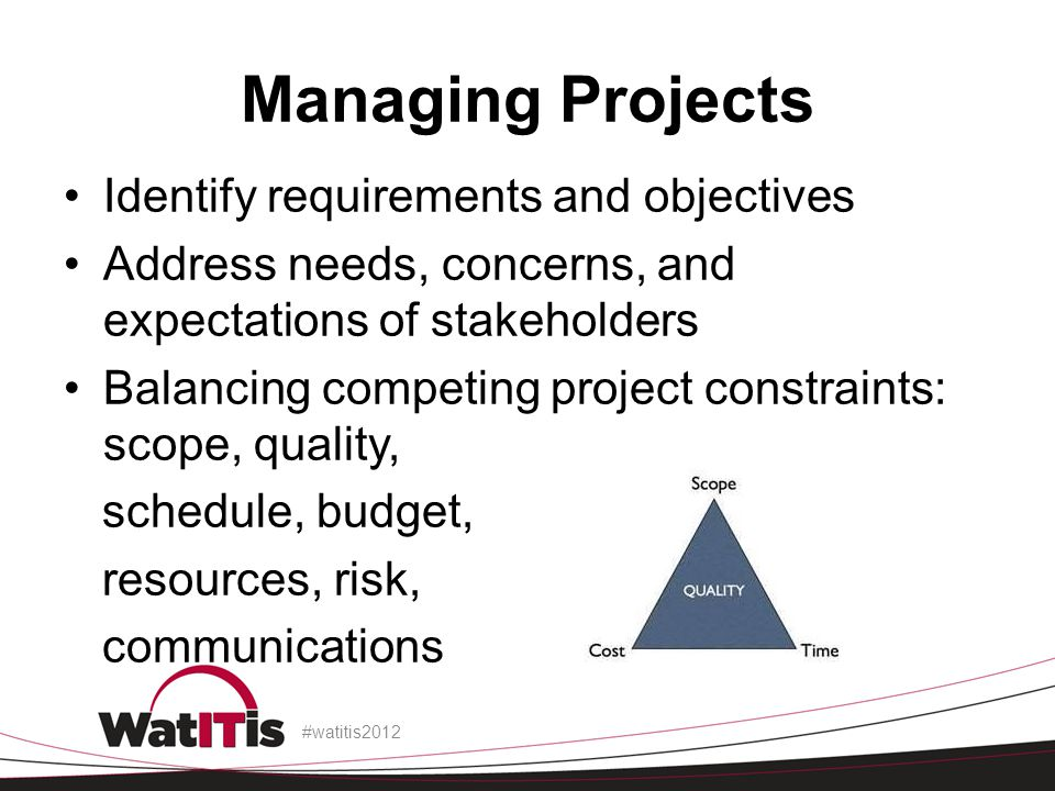 Managing Projects Identify requirements and objectives Address needs, concerns, and expectations of stakeholders Balancing competing project constraints: scope, quality, schedule, budget, resources, risk, communications #watitis2012