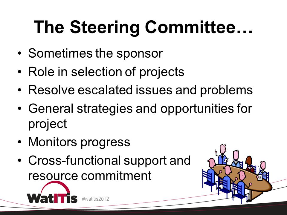 The Steering Committee… Sometimes the sponsor Role in selection of projects Resolve escalated issues and problems General strategies and opportunities for project Monitors progress Cross-functional support and resource commitment #watitis2012