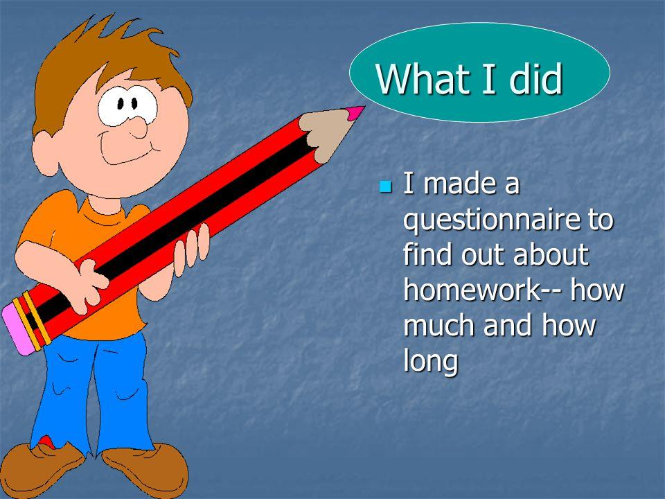 Important questionnaire regarding homework