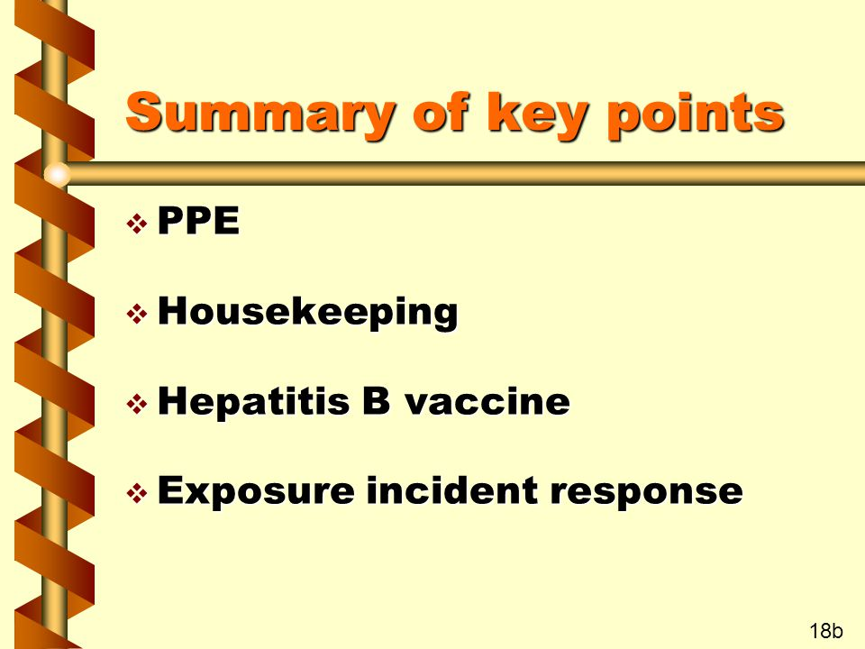 Summary of key points v PPE v Housekeeping v Hepatitis B vaccine v Exposure incident response 18b