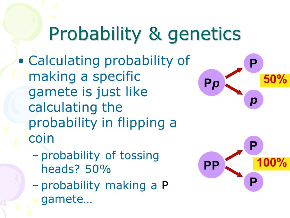 Genetics & Probability Mendel's laws: –segregation –independent assortment reflect same laws of probability that apply to tossing coins or rolling dice