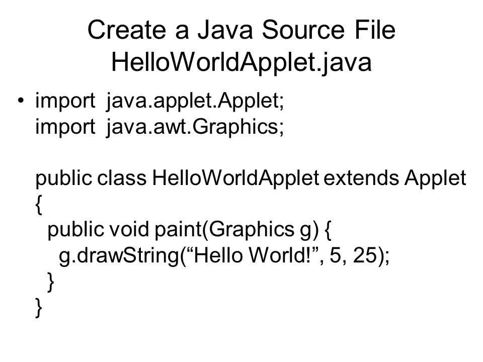 The Hello World Applet