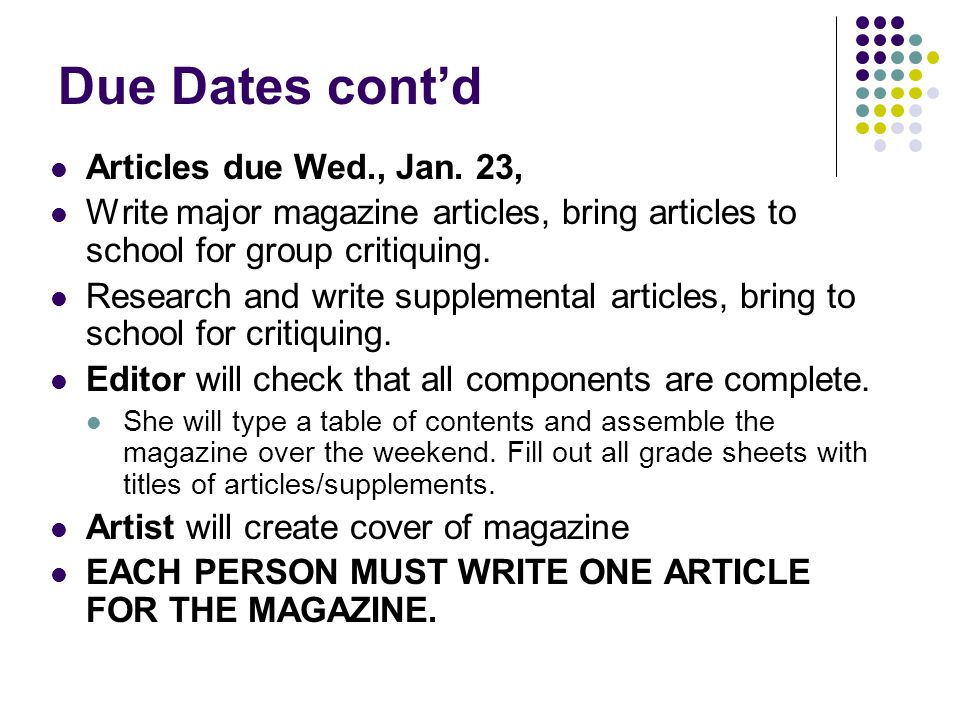 How to write an article for a school magazine