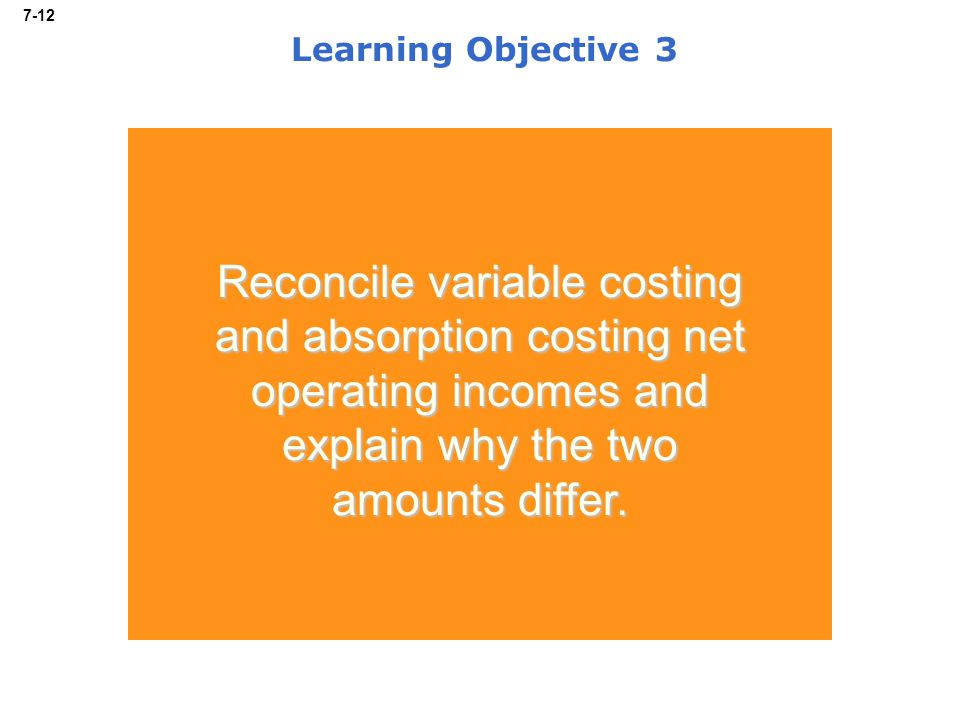 7-12 Learning Objective 3 Reconcile variable costing and absorption costing net operating incomes and explain why the two amounts differ.