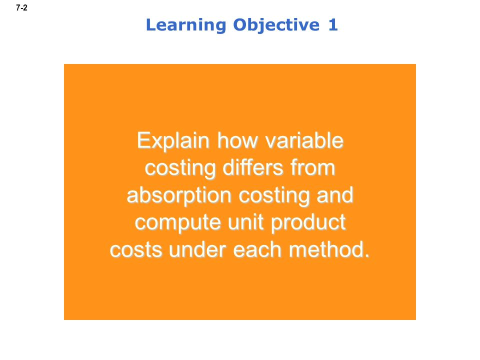 7-2 Learning Objective 1 Explain how variable costing differs from absorption costing and compute unit product costs under each method.