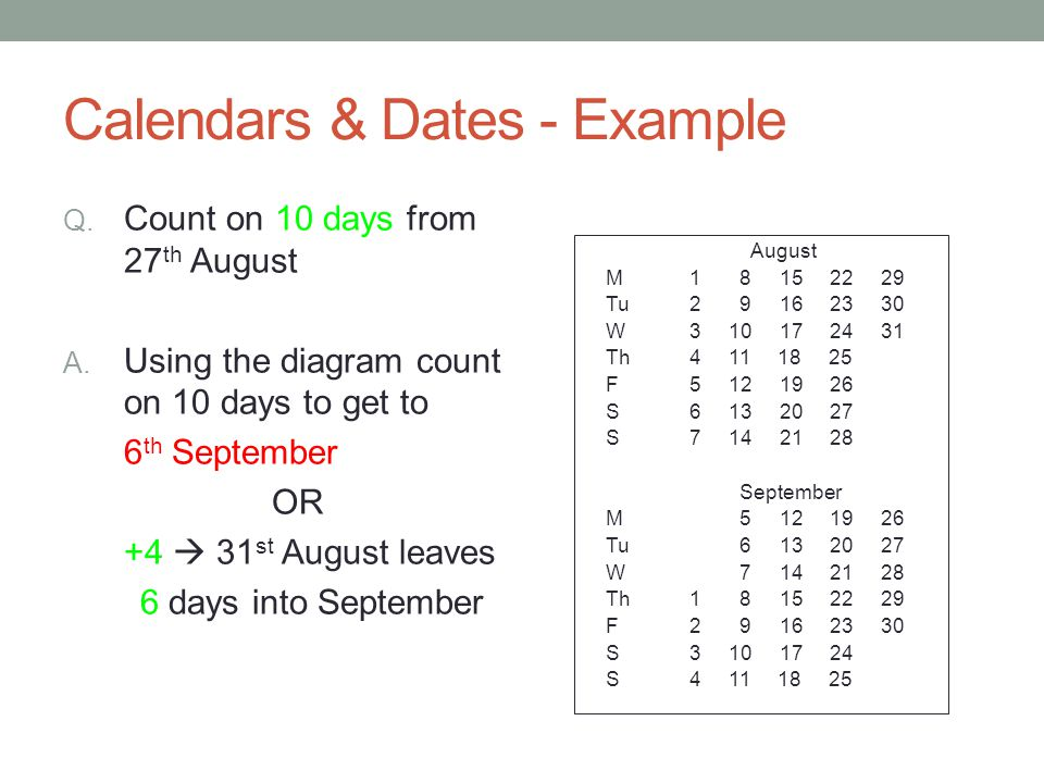 Calendars & Dates - Example Q. Count on 10 days from 27 th August A.