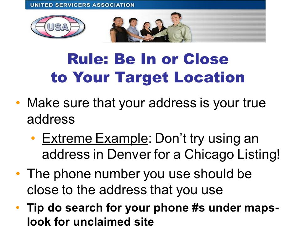 Make sure that your address is your true address Extreme Example: Don't try using an address in Denver for a Chicago Listing.