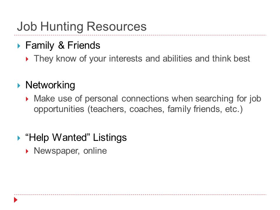 Job Hunting Resources  Family & Friends  They know of your interests and abilities and think best  Networking  Make use of personal connections when searching for job opportunities (teachers, coaches, family friends, etc.)  Help Wanted Listings  Newspaper, online