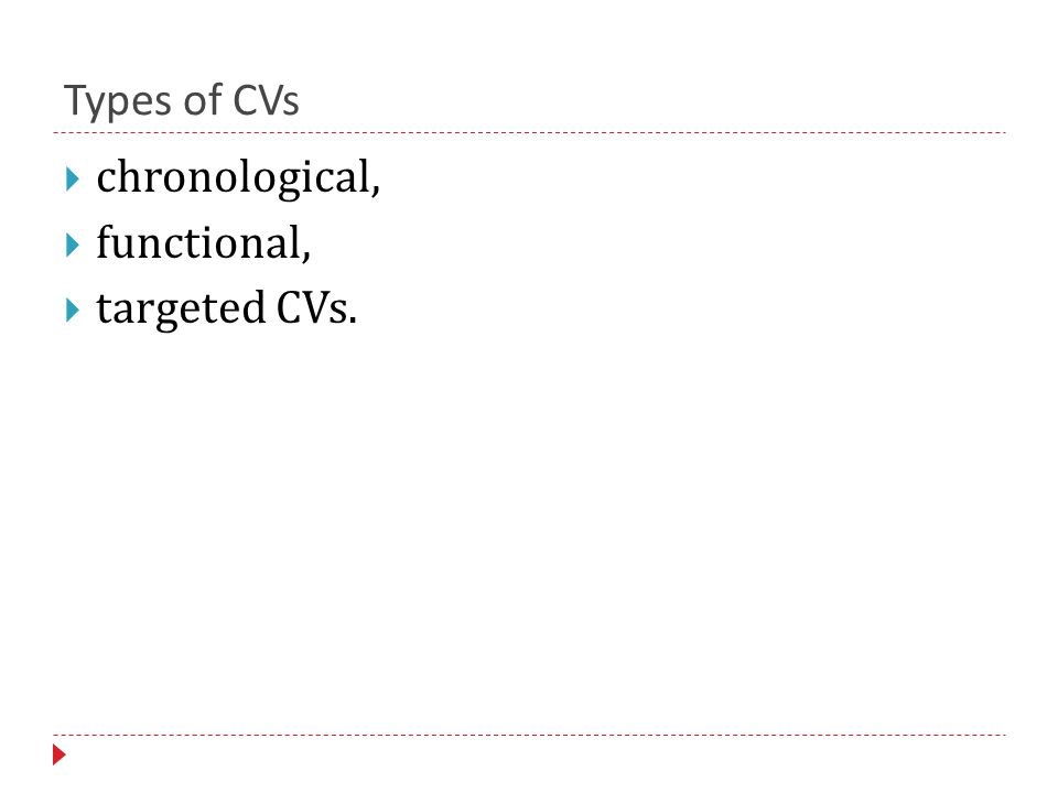 Types of CVs  chronological,  functional,  targeted CVs.