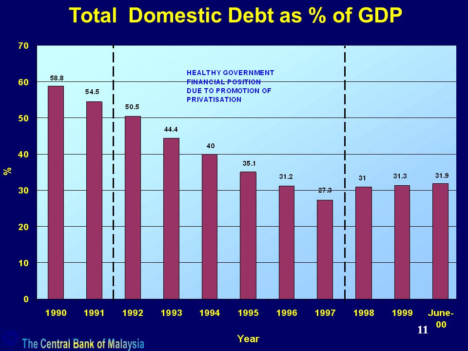 11 Total Domestic Debt as % of GDP