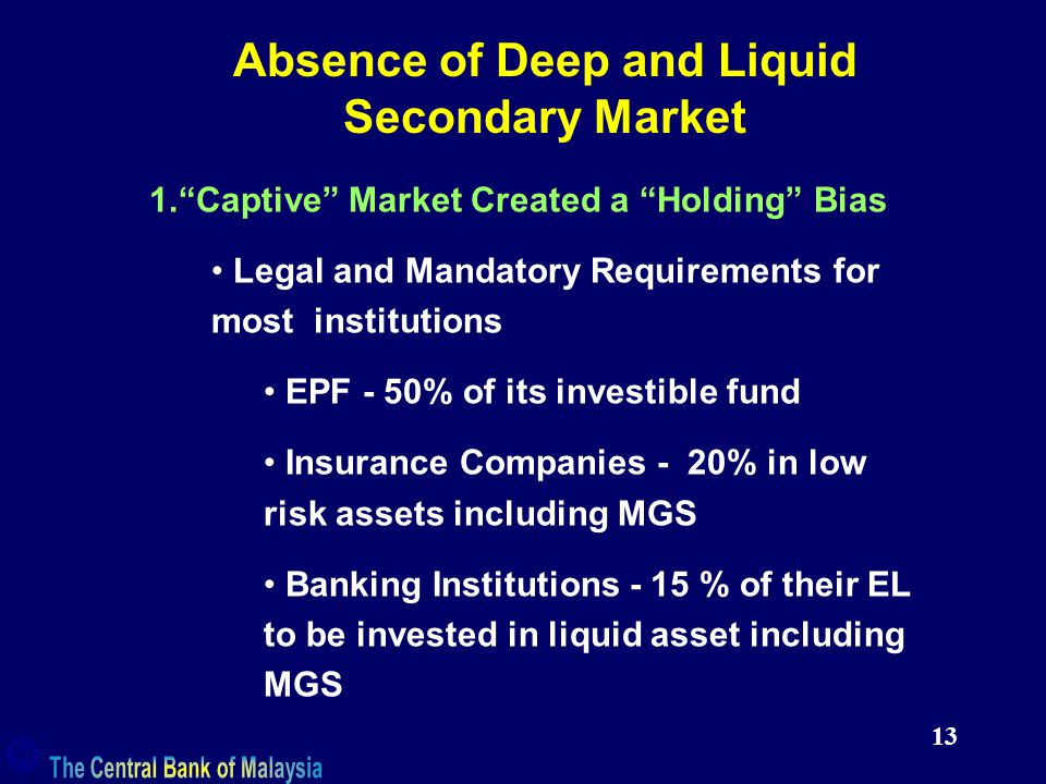 13 Absence of Deep and Liquid Secondary Market 1. Captive Market Created a Holding Bias Legal and Mandatory Requirements for most institutions EPF - 50% of its investible fund Insurance Companies - 20% in low risk assets including MGS Banking Institutions - 15 % of their EL to be invested in liquid asset including MGS
