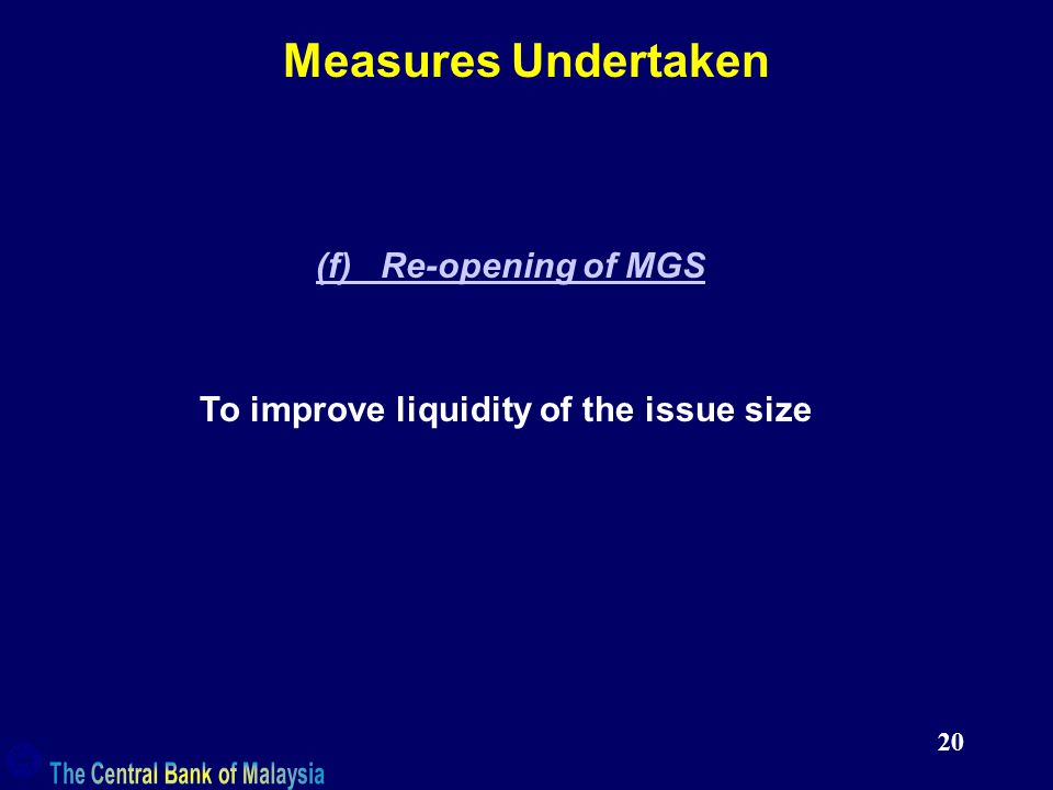 20 Measures Undertaken (f) Re-opening of MGS To improve liquidity of the issue size